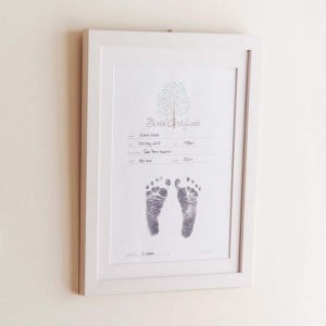 Baby Made Inkless Print Birth Certificate in Wooden Frame (frame not included)